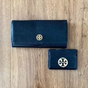 TORY BURCH   Black Robinson Wallet & Card Holder